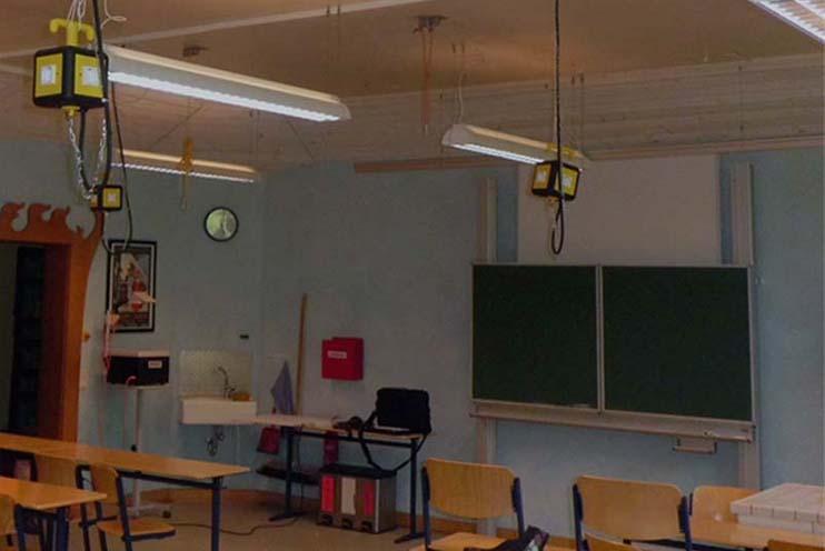 Klassenzimmerbeleuchtung vor der Installation omoa LED Panels Ultra Bright